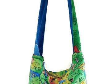 United states bag, map bag, map purse, hobo bag, boho bag, crossbody bags, 50 states bag, Ohio bag, states purse, states bag, slouch bag