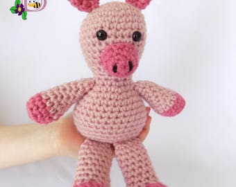 Pink Pig Stuffed Animal / Pink Pig Plush Toy / Crochet Pink Pig Stuffed Animal / Crochet Plush Pink Pig Toy / Pink Pig Snuggly Pal