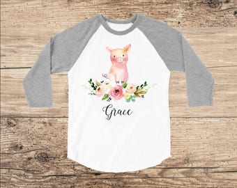 Personalized Shirt with Baby Pig for Easter or Farm Birthday