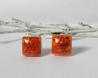 square earrings, copper earrings, geometric earrings, amber earrings, small earrings, studs, resin earring, stud earrings, tiny stud earring