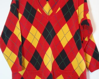 Vintage 90s Gap Argyle Plaid Sweater V Neck with Pockets, Nineties Fashion Pattern Red Yellow Tunic Length Large