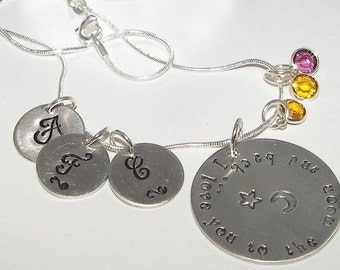 Hand stamped jewelry, custom stamped, personalized, I love you to the moon an back, mommy necklace,