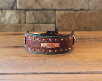 Leather Dog Collar // Extra Wide Teal and Brown w/ Copper