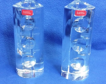 A Pair of French Crystal Candle Holders