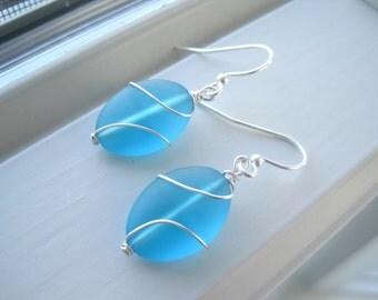 Bright Blue Earrings - Blue Glass Earrings - Cultured Sea Glass Jewelry - Wire Wrapped Earrings - Wire Wrapped Jewelry - Oval Earrings
