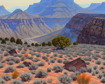 Grand Canyon 'Tonto Junipers' - original Landscape Painting - oil - Southwest art - desert painting - Arizona - square -cobalt blue