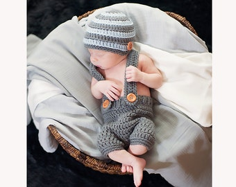 Baby Boy Beanie and Diaper cover - Newborn Infant baby boy hat and diaper cover set, crochet knit baby boy clothes, cover, baby gift