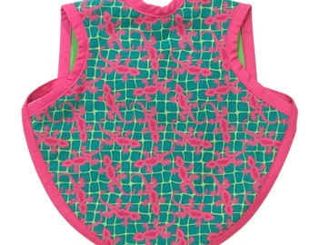 Pink and Green Gecko Bapron - Size 6-18 Months