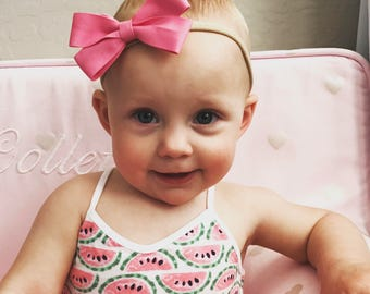 Baby Headband, Baby Bow, School Girl Bow, Pig Tail Bows, Toddler Hair Bow, Hair Bow, Baby Hair Bow, Nylon Headband, Newborn Headband, Bow