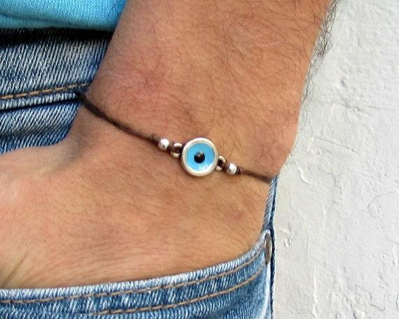 Evil Eye Mens Cord Bracelet Anklet Blue Bracelet Anklet Adjustable