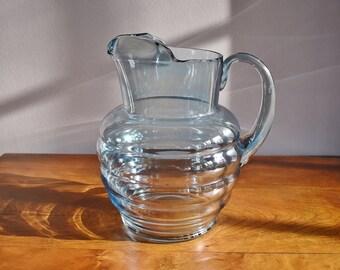 Dunbar Flint Glass Amaris Rings Blue Glass Pitcher, 64 ounce 2 Quart Ribbed Blue Glass Lemonade Pitcher, Iced Tea Sangria Beverage Pitcher
