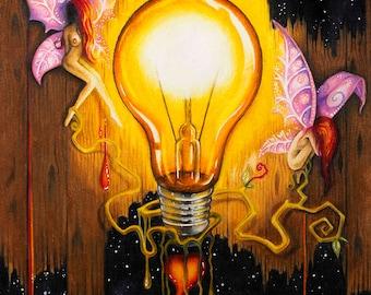 Light Bulb Fairies Colour Pencil Drawing Print