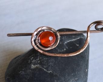 Copper Wire Shawl Pin with Cornelian - Minimalist Pin -  Orange Scarf Pin -  Sweater Pin - Wire Wrap Brooch