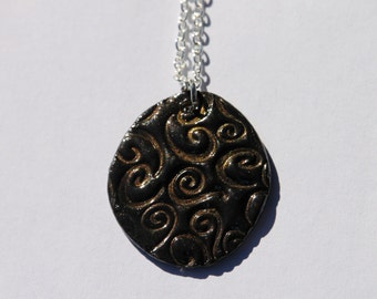 "18"" Black Swirl Polymer Clay Necklace"