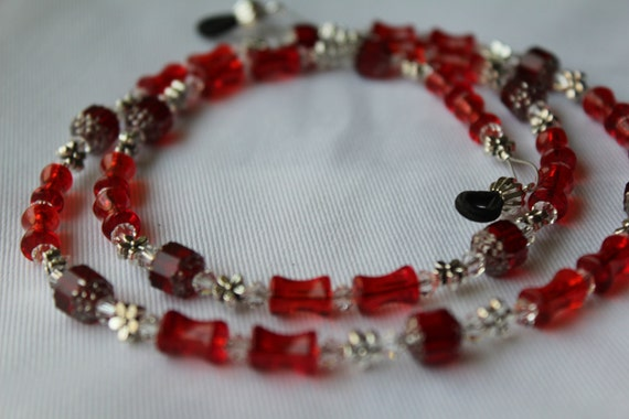Red Glasses Chain, Glass Bead Eyeglass Chain, Eyeglass Necklace, Stunning Red Necklace for Reading Glasses