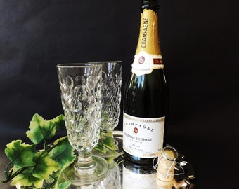 Antique Crystal Toasting Glasses 2 Champagne Flutes Thumb Print Cut,  Victorian Dimple Ale Rummer, Wine Glass