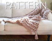"SALE! Crochet Blanket Pattern// Beginner's Pattern// Chunky Throw // Crochet blanket // Crochet throw // 53""x46"" // simply maggie"