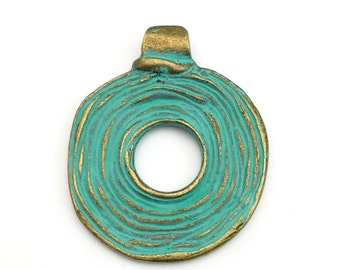 1 ethnic swirl pendant green patina& bronze,46mm x 55mm #PEN 067