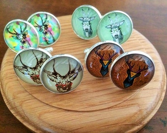 choice of  Stag cabochon on silver tone cufflinks 3 different designs to choose from