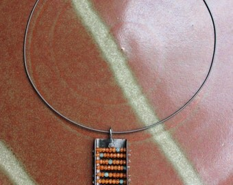 Iron and Carnelian Abacus on oxidized sterling silver neck cable - 6th anniversary