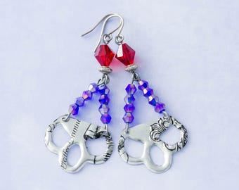 Silver Vintage Tin Earrings with Purple and Red Glass Beads and Antique Silver Beads, Silver Vintage Tin Jewelry