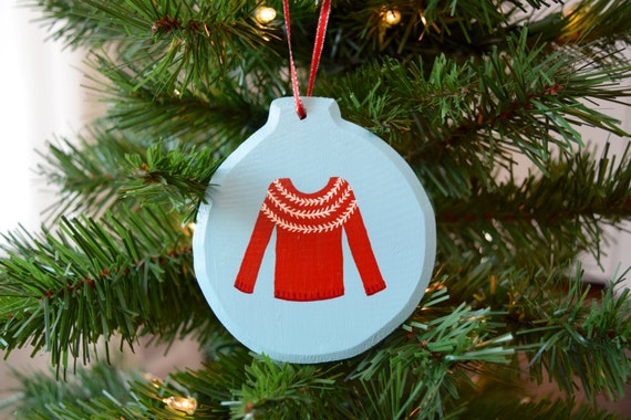Christmas Sweater Wooden Ornament, Hand-Painted / Bright Red and White / Christmas Ornament / Ugly Christmas Sweater