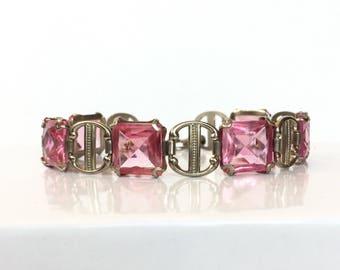 Vintage Pink Glass Bracelet 1930s Art Deco Rhinestone Bracelet Antique Silver Crystal Bangle Bridal Wedding Bracelet Vintage Estate Jewelry
