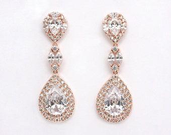 Elsie - Crystal Teardrop Earrings, Wedding Earrings, Cubic Zirconia Bridal Earrings, Bridal Jewelry, CZ Drop Earrings, Dangle Earrings