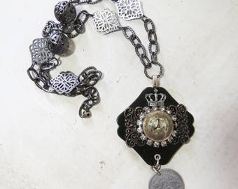 Watch Face Statement necklace Crown, French Coin, Old Buckle, Vintage Rhinestones Mixed Media Necklace  One of a Kind  design
