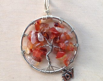 Tree of Life Pendant - Agate Fire - Reiki Charged
