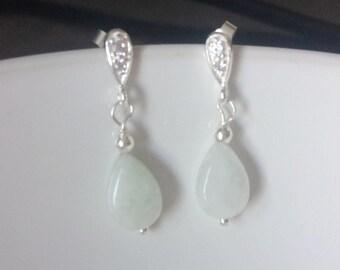 Sterling Silver Jade Stud Earrings, Green Jade Earrings, Cubic Zirconia Stud Earrings, Green Jade Jewellery, Jade Post Earrings,