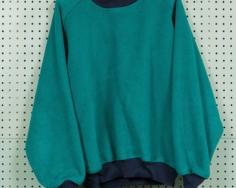 Vintage 90s Lands End Full Fleece Raglan Sweatshirt Size M Aqua/Teal Made in USA