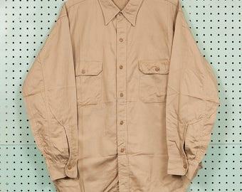 30s/40s Vintage Cone Mills Cotton Work Shirt Size L/XL 17 Kast Iron Sanforized Union Made Khaki