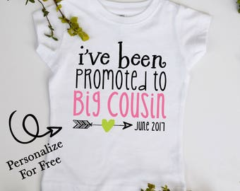 I've Been Promoted to Big Cousin Future Big Cousin Youth Tshirt Customize Color and Date