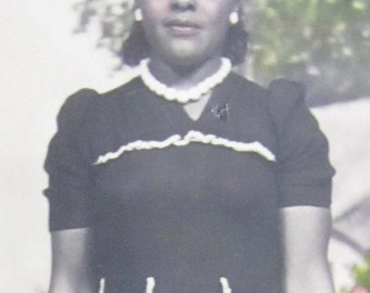 Outstanding Hand Tinted 1930's African American Pretty Black Woman Color Photo - Free Shipping