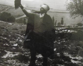 The Falconer - 1930's Man Releases His Falcon Snapshot Photograph - Free Shipping
