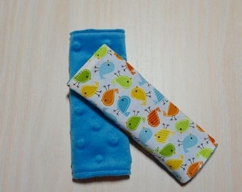 Car Seat Strap Covers - White w/ small birds, green, blue, orange, yellow