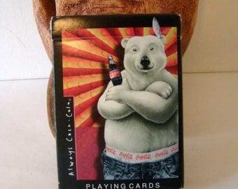 Coca-Cola Polar Bear playing cards, 1997 Coca-Cola Polar Bear deck of cards, Coke playing cards, vintage Coca-Cola