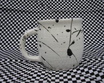 White Mug with black splatter print