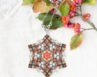 Mandala necklace, beaded star, lotus flower, micro-macrame jewelry, spiritual, bohemian, unique, autumn, fallen leaves, orange olive gray