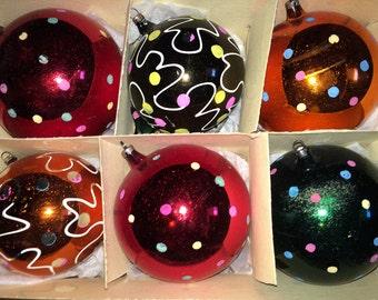 "Jumbo Vintage 4"" Mercury Glass Hand Painted German Glass Ornaments"