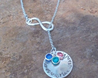 Personalized Infinity Name and Birthstone Mom/Grandma Necklace, Mom Jewelry, Grandma Necklace, Couples Necklace