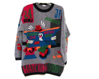 Vintage 80s ugly sweater Joye Fun wool contest winner