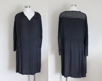 1920s Dress   Black Flapper Dress   Cutout Sleeves   Dropwaist Dress   Peplum Dress   Caged Cut Out Back   Medium
