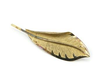 Vintage Sterling Leaf Brooch, Bond Boyd, Gold Wash, Signed