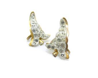 Vintage Rhinestone Leaf Earrings, Gold Tone, Screw Backs, Circa 1940