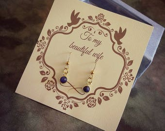 Women gemstone gift Small blue earring Sapphire earring Dainty gold earring Wife summer jewelry Blue wedding earring Wife birthstone earring
