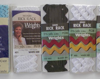 5 Packs-Rick Rack Wrights Baby Medium & Jumbo Rick Rack White Black Light Blue Modern And Vintage Sewing Notion