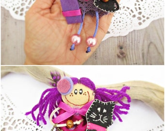 Doll Brooch For Girl, Doll With Black Cat, Small Cloth Doll,  Personalized Dolls, Doll With Purple Dress, Miniature Doll, Gift For Girl