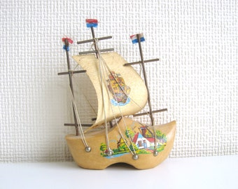 Dutch Wooden Clog Ship Ornament from Holland